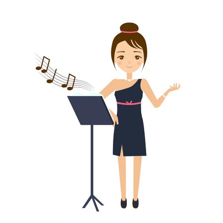 choice concept: Singer Flat Vector Illustration. Career choice concept