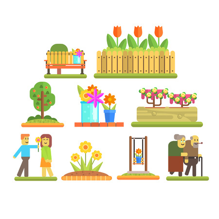 human figure: Spring and Flowers. Flat Vector Illustration Collection Vectores