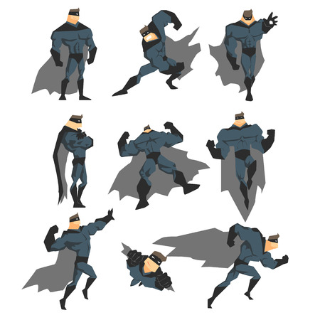Superhero Actions Set in Comics Style. Vector Illustration Collection