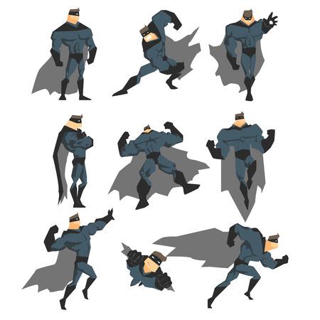 batman: Superhero Actions Set in Comics Style. Vector Illustration Collection