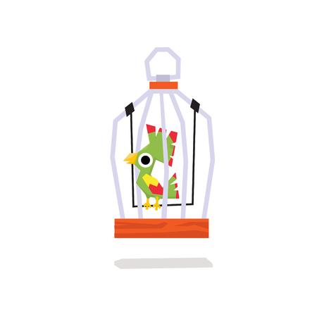 door swings: Parrots in a Cage. Flat Vector Illustration