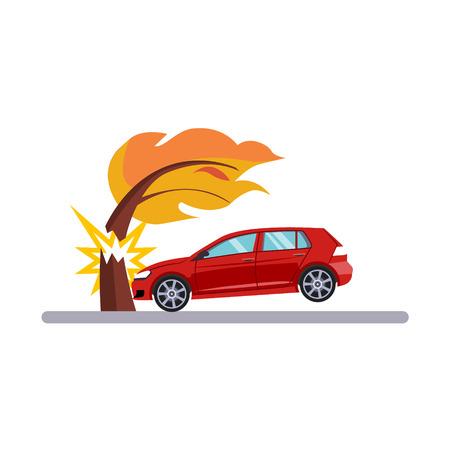 Voiture et transport Problème avec un arbre. Flat Vector Illustration