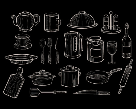 cutting board: Kitchen Utensils on a Chalkboard Background, Vector Collection