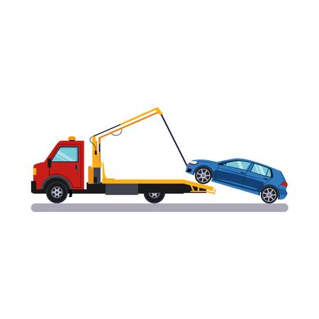 Car and Transportation Towing. Flat Vector Illustration