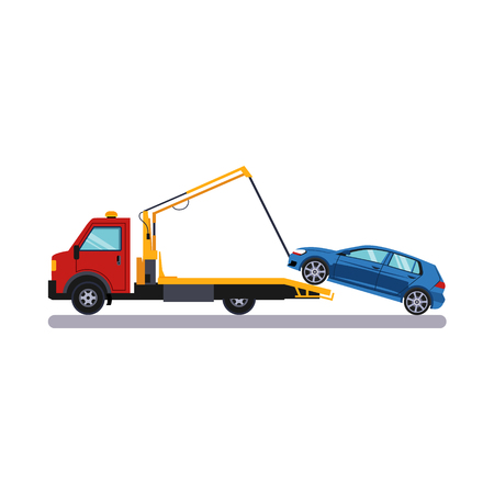 Car and Transportation Towing. Flat Vector Illustration