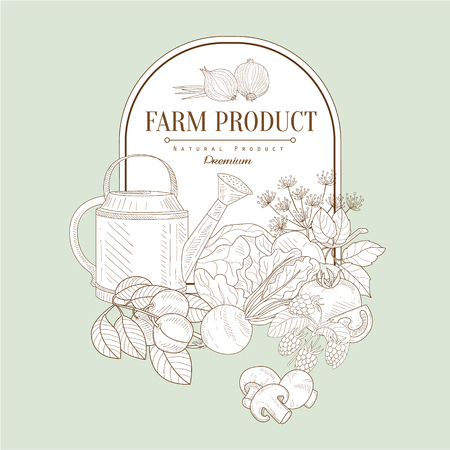 grocer: Farm product, Hand drawn Vector Illustration Banner