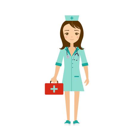choice concept: Nurse Flat Vector Illustration. Career choice concept