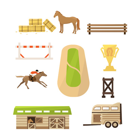riding boot: Vector Horse Sport Icons Flat design Vector Illustration