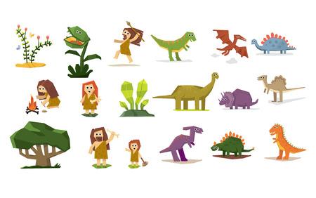 Los dinosaurios y plantas prehistóricas y personas, la escenografía plana ilustración vectorial