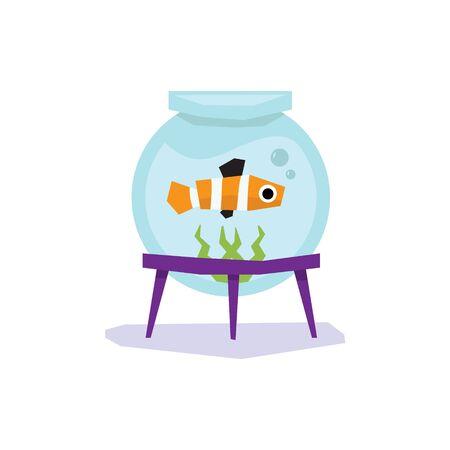 goldenfish: Little Goldfish in Aquarium, Flat design Vector Illustration