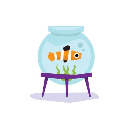 Little Goldfish in Aquarium, Flat design Vector Illustration