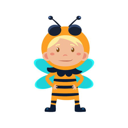 bee party: Child Wearing Costume of Bee. Cute Vector Illustration Illustration