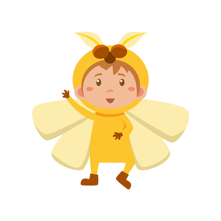 yellow butterfly: Child Wearing Costume of Yellow Butterfly. Cute Vector Illustration
