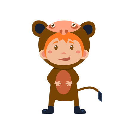 monkey suit: Child Wearing Costume of Monkey. Cute Vector Illustration Illustration