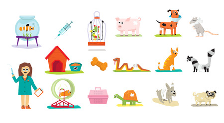veterinary care: Animal Veterinary Care Flat Icons Isolated Vector Illustration