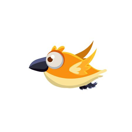 one eyed: Vector Design Cute Orange Canary Mid-air On White Background Illustration