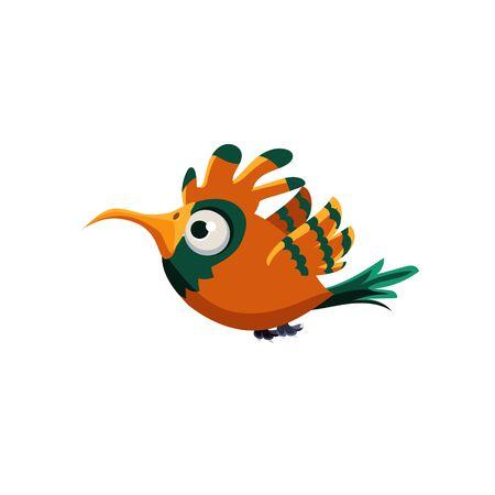 single eyed: Vector Design Cute Orange Paradise Bird Mid-air On White Background Illustration