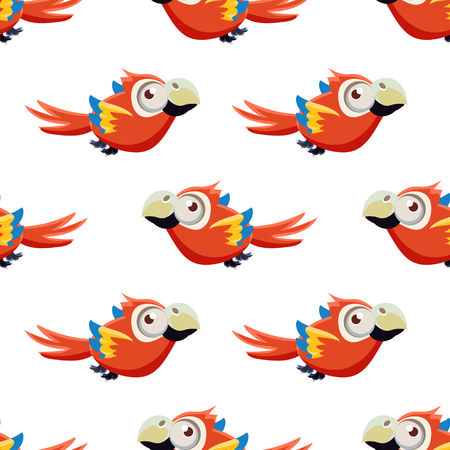 single eyed: Vector Design Seamless Pattern With Cute Red Macaw Parrot Mid-air On White Background