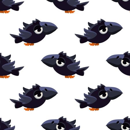 single eyed: Vector Design Seamless Pattern With Cute Black Craw Mid-air On White Background