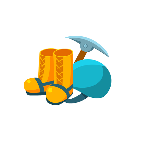alpinism: Camping Equipment. Flat Vector Illustration composition. Collection of camping and travel Illustration