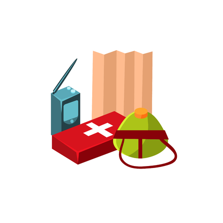 first aid kit: Camping First Aid Kit. Flat Vector Illustration