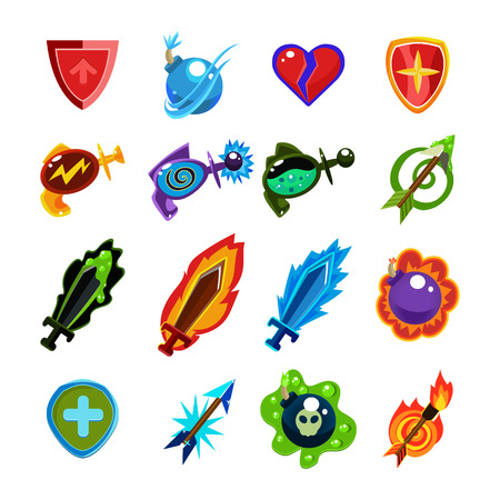 arrow poison: RPG Video Game Toy Icons  Set Vector Flat Design On White Back Ground