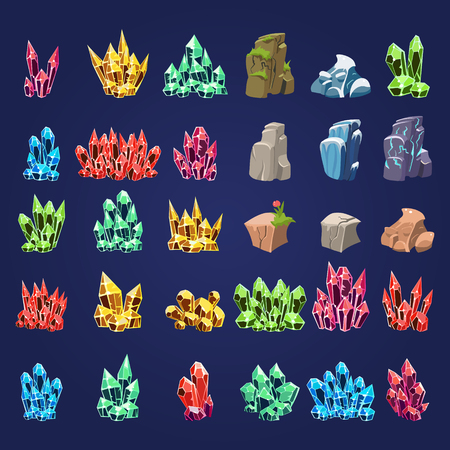 Vector Cartoon ensemble de pierres minérales et fantaisie crystalls