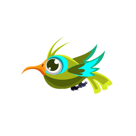 single eyed: Vector Design Cute Green Hummingbird Mid-air On White Background
