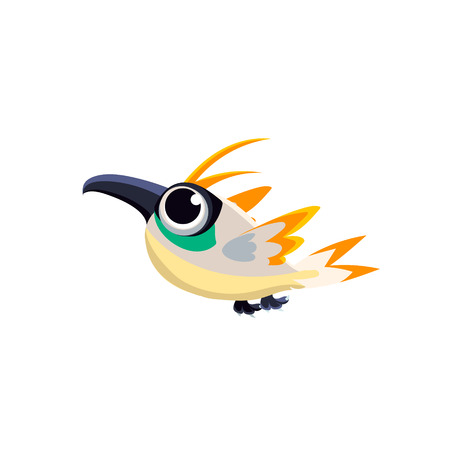 bird of paradise: Vector Design Cute Multicolor Paradise Bird Mid-air On White Background