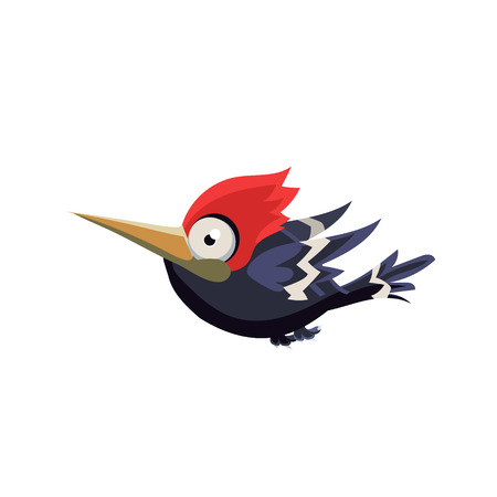 single eyed: Vector Design Cute Crazy Woodpecker Mid-air On White Background Illustration