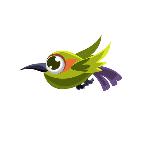 single eyed: Vector Design Cute Green Colibri Mid-air On White Background Illustration