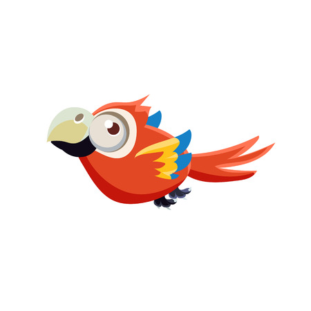single eyed: Vector Design Cute Red Macaw Parrot Mid-air On White Background