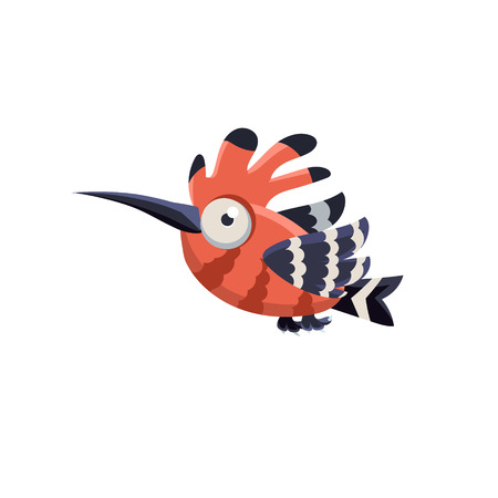 single eyed: Vector Design Cute Hoopoe Mid-air On White Background
