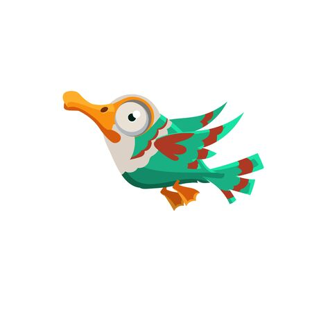 seabird: Vector Design Crazy Colorful Duck Mid-air On White Background