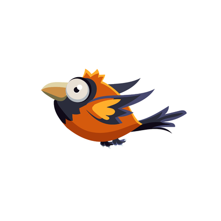 single eyed: Vector Design Cute Orange Sparrow Mid-air On White Background