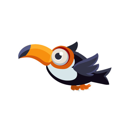 single eyed: Vector Design Cute Common Toucan Mid-air On White Background Illustration