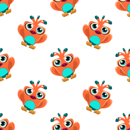 single eyed: Vector design seamless pattern with cute orange macaw parrot in the air on white background Illustration