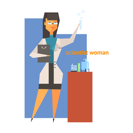 scientist woman: Scientist Woman Abstract Figure Flat Vector Illustration  With Text