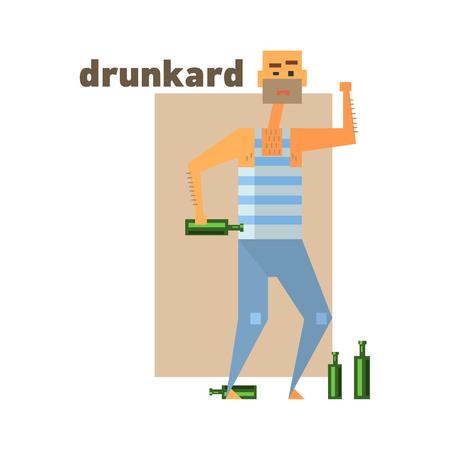 drunkard: Drunkard Abstract Figure Flat Vector Illustration With Text Illustration