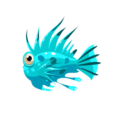 sea life: Prickly Fish. Cute Vector Illustration Collection of sea life