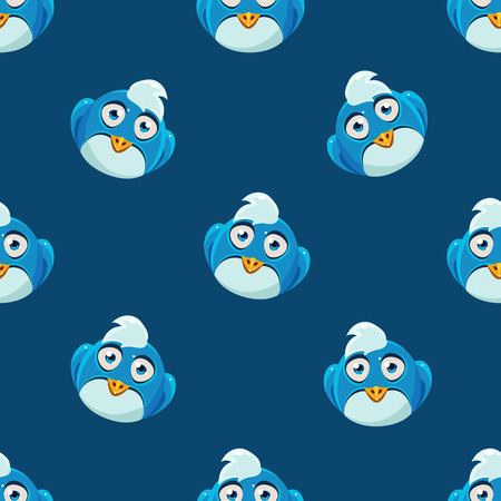 single eyed: Cute Seamless Pattern With Fantastic Cartoon Full Face Blue Bird