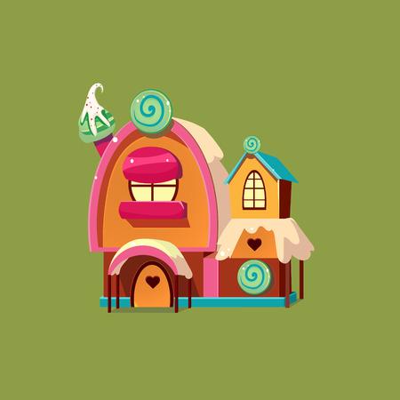 Mignon Candy House. Coloré Vector Illustartion maison de pain d'épice