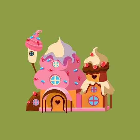 casita de dulces: Fantas�a Candy House. Colorida casa de jengibre Vector Illustartion