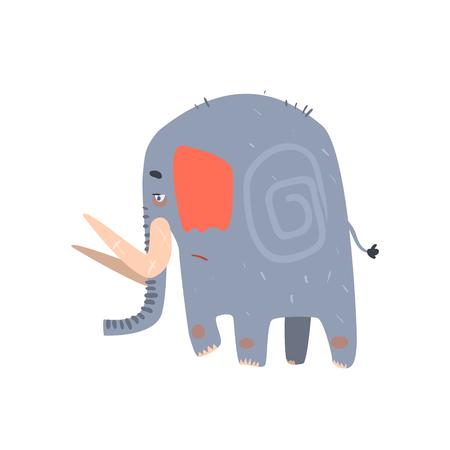 tusk: Sad Blue Elephant Walking Flat Cartoon Stylized Vector Illustration