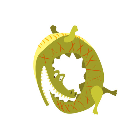 chasing tail: Crocodile Chasing His Own Tail Flat Cartoon Stylized Vector Illustration