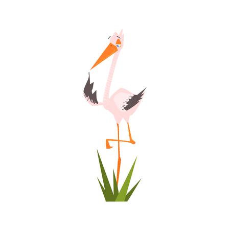 standing on one leg: Stork Standing On One Leg Flat Cartoon Stylized Vector Illustration Illustration