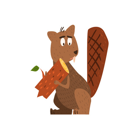 standing on one leg: Beaver Holding A Log Flat Cartoon Stylized Vector Illustration