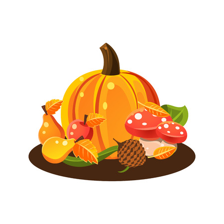 death cap: Autumn Harvest Still Life With Pumpkin Fruits And Mushrooms Colorful Vector Illustration On White Background