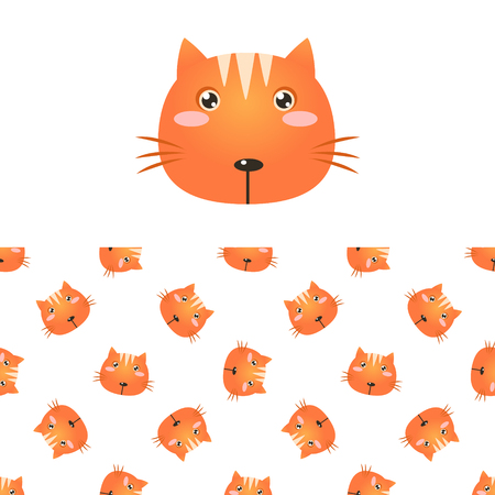 children only: Cat Head Icon And Seamless Decorative Pattern In Childish Style  Flat Vector Print On White Background