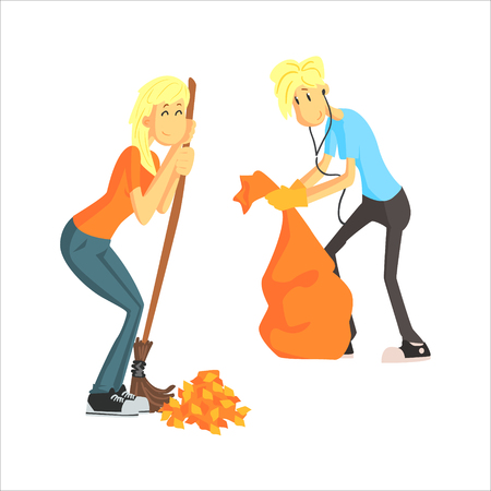 cute guy: Guy And Girl Picking Leaves Cute Cartoon Style Flat Vector Illustration On White Background